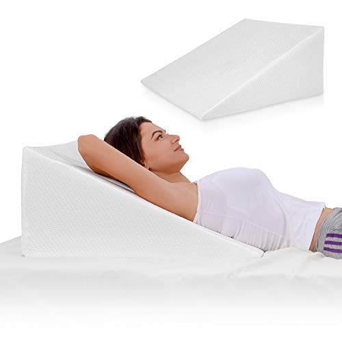 Pillow with Memory Foam Top – Reduce Back Pain, Snoring, Acid Reflux & Respiratory Problems – Ideal for Sleeping, Reading, Rest or Elevation – Breathable and Washable Cover ()