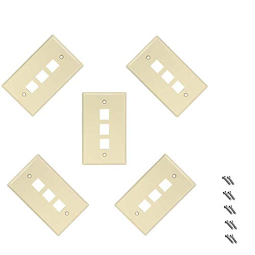 - iMBAPrice 3 Port Flush Mount Keystone Jack Wall Plate 1-Gang - Ivory (Pack of 5)