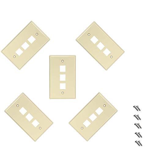 (iMBAPrice 3 Port Flush Mount Keystone Jack Wall Plate 1-Gang - Ivory (Pack of 5))