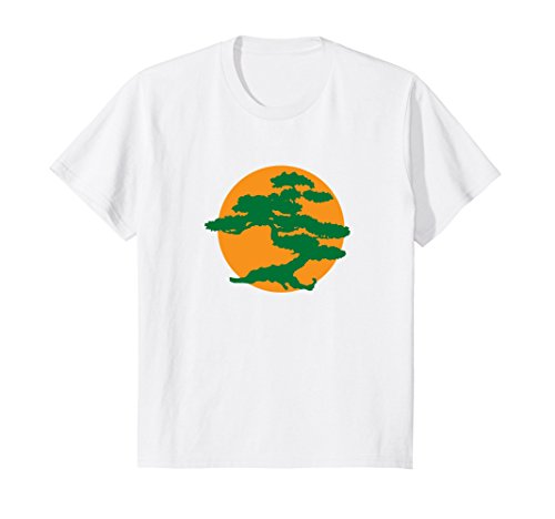 Karate Bonsai Tree (Kids Bonsai Tree t shirt with Orange Sun Japanese Karate Zen 6 White)