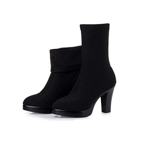 Ladies Platform Block Tops Stivaletti Black camoscio Socks Winter Stretch Shoes Jrenok Heels Stivali 8 High 5cm di Women 4BSnx6PF