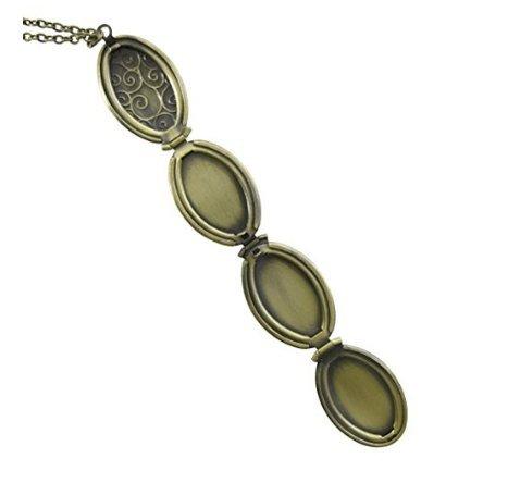 Locket Necklace, Heart Locket Necklace, Clover Locket Necklace, Photo Locket, 4 Frame Locket, Folding Four Picture, Floral Oval Locket