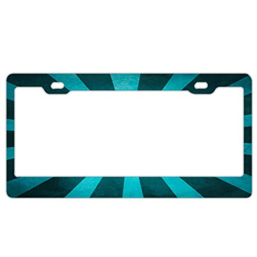 - Vintage Rustic Turquoise Blue Starburst Pattern Black License Plate Frame Aluminum Metal, Decorative License Tag Holder, Novelty Auto Car Accessories, 2 Holes with Screws
