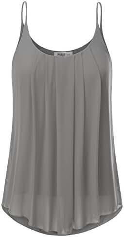 JJ Perfection Women's Pleated Chiffon Layered Cami Tank Top