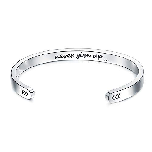 AllenCOCO Stainless Steel Cuff Bangle Inspirational Impressed Statement Engraved Magnetic Bracelet (N1)