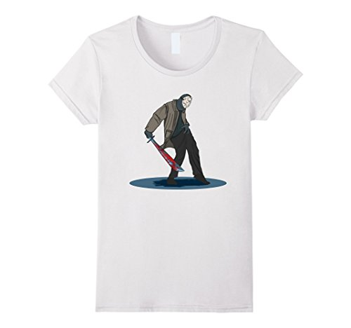 Womens Funny Jason Dance T-Shirt - Best cute Halloween Costume Medium White