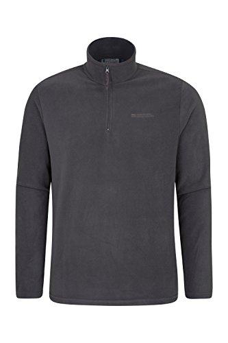 (Mountain Warehouse Mens Camber Fleece Top - Warm, Half Zip Sweater Dark Grey Small)