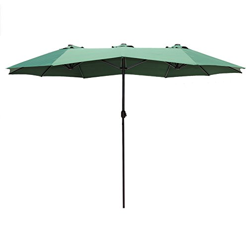 Le Papillon 15 ft Market Outdoor Umbrella Double-Sided Aluminum Table Patio Umbrella with Crank, Green ()