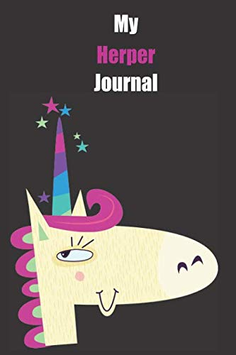Price comparison product image My Herper Journal: With A Cute Unicorn,  Blank Lined Notebook Journal Gift Idea With Black Background Cover