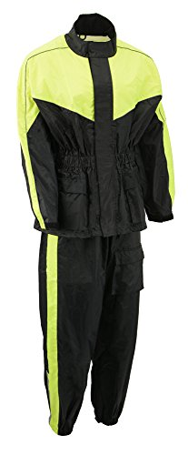 M-BOSS MOTORCYCLE APPAREL-BOS29601-BLK/NEON YELLOW-Unisex's two piece motorcycle rain gear.-BLK/NEON YELLOW-2X-LARGE