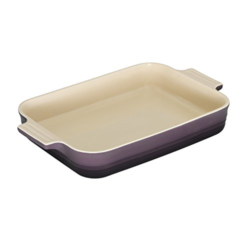 Le Creuset Stoneware 12-1/2-by-9-1/2-Inch Rectangular Baking Dish, Cassis