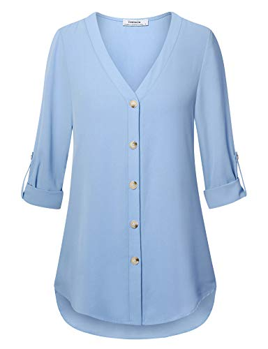 - Youtalia Womens Plus Size Shirts and Blouses, Juniors 3/4 Sleeve Blouses V Neck Comfy Chiffon Tunics Tops to Wear with Leggings Light Blue XX-Large