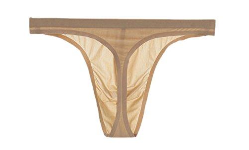 Sheer Thongs Silk - Soojun Mens Traceless Sexy Thongs Low Rise Underwear Ice Silk Briefs, X-Large, Khaki