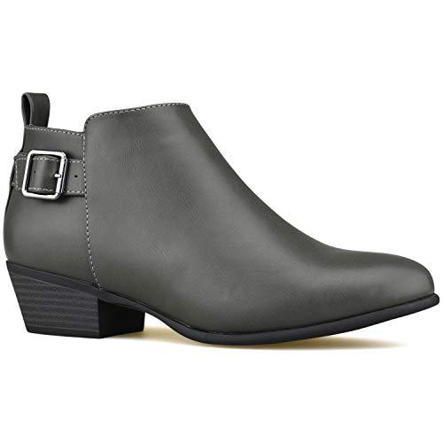 Premier Standard - Women's Zipper Ankle Booties - Comfortable Closed Toe Shoe – Low Heel Comfortable Walking Booties Grey
