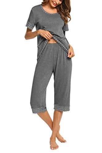 Hotouch Womens Capri Pajama Sets with Unique Prints Graphics Gray s -
