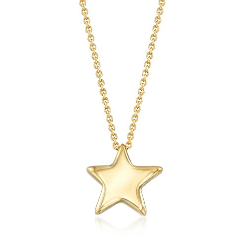 Ross-Simons Italian 18kt Gold Over Sterling Silver Puffed Star Drop Necklace (Sterling Puffed Star Silver)