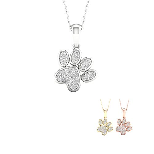 IGI Certified 10K Gold 1/8ct TDW Diamond Dog Paw Print Necklace (I-J I2) (white-gold)
