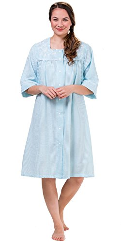 Aqua Seersucker - KayAnna Embroidered Short Snap Front Seersucker Robe In Aqua Stripe (Aqua Stripe, Large)