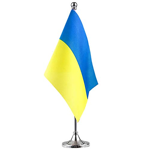(Ukraine Ukrainian Stand Base Flag Table Desk Flag ,Metal Stand and Base and Country Flag Banners,For Home Garden Office Decoration, Festival Celebrations.)