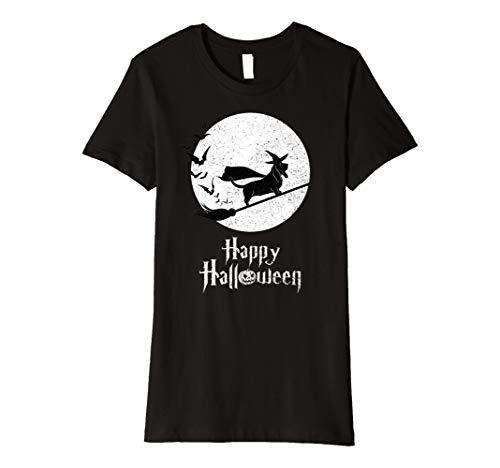 Womens Witch BASSET HOUND Dog Funny Halloween Costume T-Shirt Large Black -