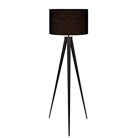 Amazon romanza matte black tripod floor lamp with black shade romanza matte black tripod floor lamp with black shade 6023 inches aloadofball Choice Image