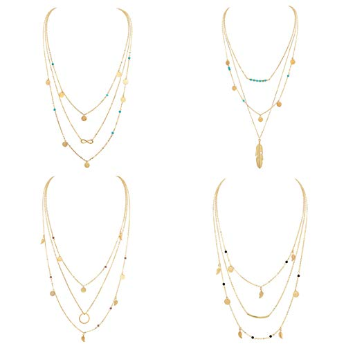 Layered Gold Boho Necklace Pendant for Women Multilayer Chain Beads Leaf Disc Charm Costume Jewelry Sets 4Pcs E600G-