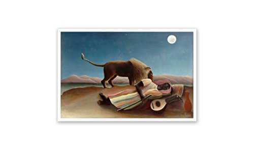 - The Sleeping Gypsy - Henri Rousseau - Fine Art Collections - 24x16 Matte Poster Print Wall Art