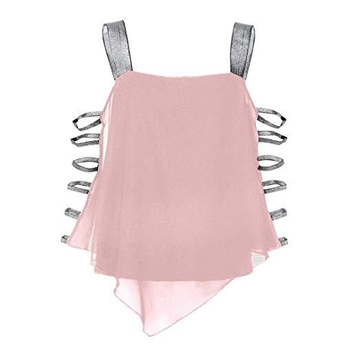 Irrgulier Casual Unique Asymtrique Tops Shirt Sangle Grande Et Mousseline Femme Taille Blouse Bretelles sans Mode Rose Haut Elgante breal pAwZq6P
