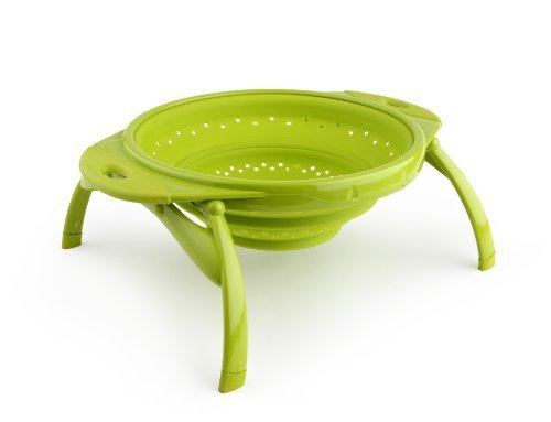 Dexas POP Collapsible Silicone Colander, 10 inch diameter, Solid Green by Dexas