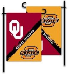 Oklahoma House Divided (BSI PRODUCTS, INC. - Oklahoma - Oklahoma State-2-Sided Garden Flag - Rivalry House)