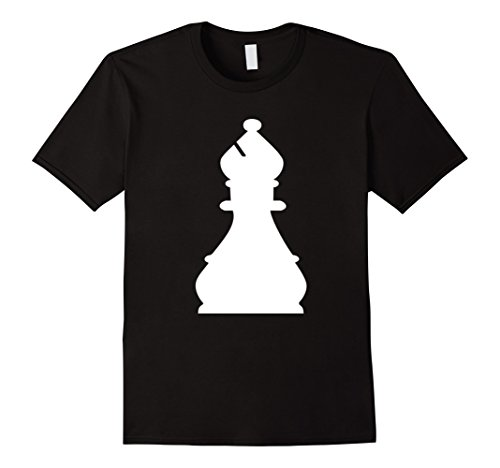 Mens Chess Piece Group Costume Shirt - BISHOP (white) 2XL Black