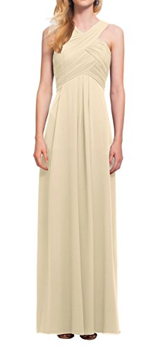 Bohemian Pretty Beach Cross High Neck Ankle Long Chiffon Prom Bridesmaid Dress Wedding Party Guest Champagne Size 8