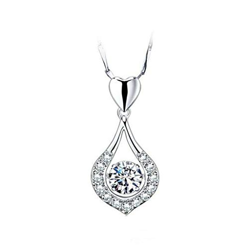 (GD Gmgod❤️❤️Silver Pendant Twinkling Heart Waterdrop Stone Necklace Women Sterling Silver Pendant Necklace)