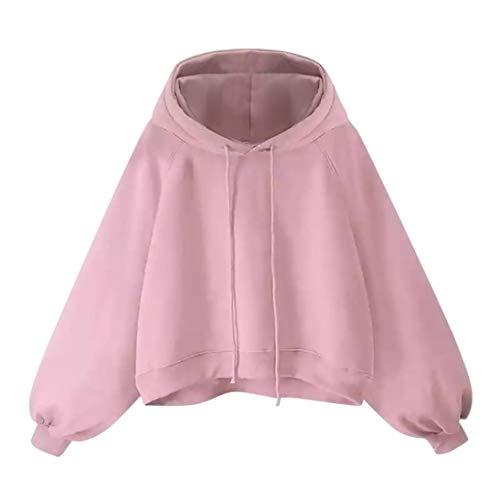 Spbamboo Women Basic Lantern Sleeve Sweater Long Sleeve Loose Thin Hooded Blouse by Spbamboo