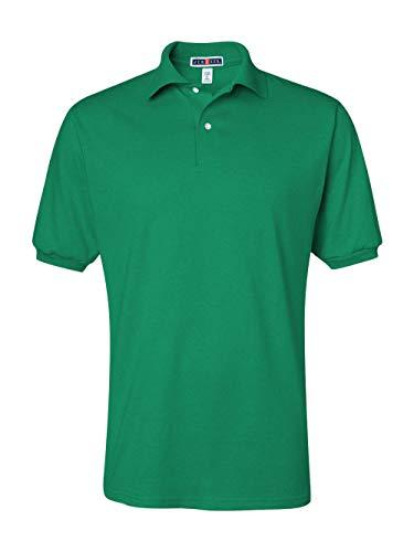 (Jerzees Men's Spot Shield Short Sleeve Polo Sport Shirt, Kelly, Large)