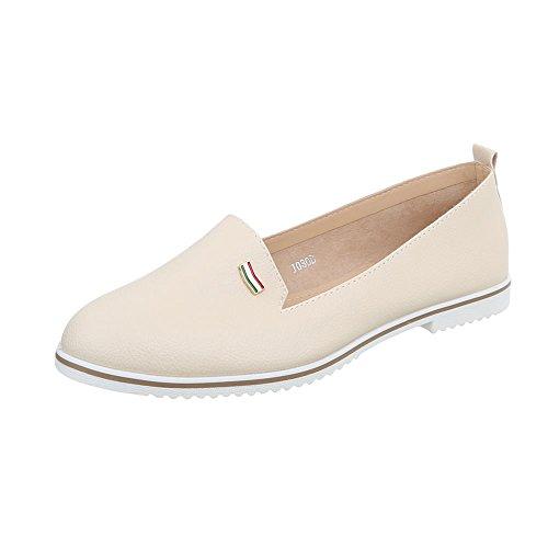 Ital-Design Women's Loafer Flats Block Heel Slippers at Beige J080d Th815Ok