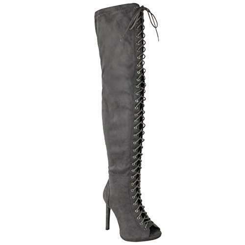 Fashion Thirsty Mujer Sexy Sobre Rodilla Por Encima de La Rodilla Cordones Zapatos de Tacón Tacones Botas Talla Gris Ante Sintético