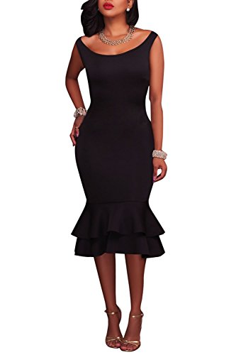 long black fitted evening dress - 4
