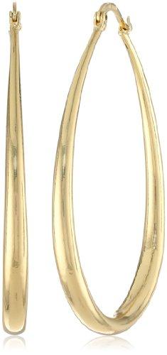 """UPC 696736525162, Gold Plated Graduated Teardrop Hoop Earrings, (1.4"""" Diameter)"""