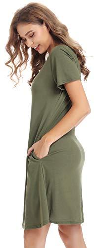 CakCton Womens Army Dress with Pockets Cotton Summer Swing Dress Plus Size T-Shirt Dress