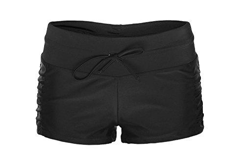 ReliBeauty Damen Einfarbig Beidseitige Falten Boyshort Verstellbare Kordel Elastische Schwimmen Badeshorts, Schwarz, L