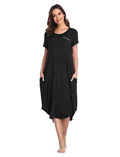 Lusofie Women's Short Sleeve Nightgowns Comfy Sleepwear Ultra-Soft Lounge Dress (Black, S)