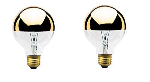 40-Watt G25 Globe Shape Light Bulb, Half Gold, Medium Base (2-Pack) by Bulbrite