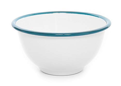 Enamelware Vintage Style Small Footed Bowl, 16 Oz, Turquoise Rim