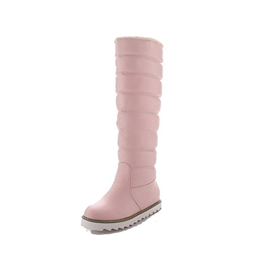 AllhqFashion Womens High-top Pull-on Soft Material Kitten-Heels Round Closed Toe Boots Pink MHMZ5MX