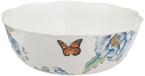 Lenox Plato de cena con ilustración de mariposa, azul, Tazón para servir, Blanco, 1