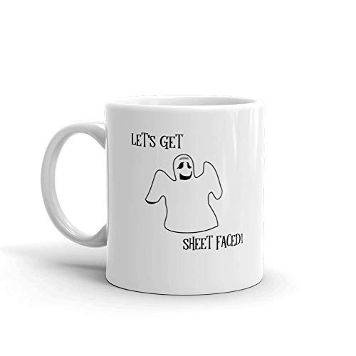 Funny Uncommon Halloween Costumes (Let's Get Sheet Faced Funny Halloween Novelty Humor 11oz White Ceramic Glass Coffee Tea Mug)