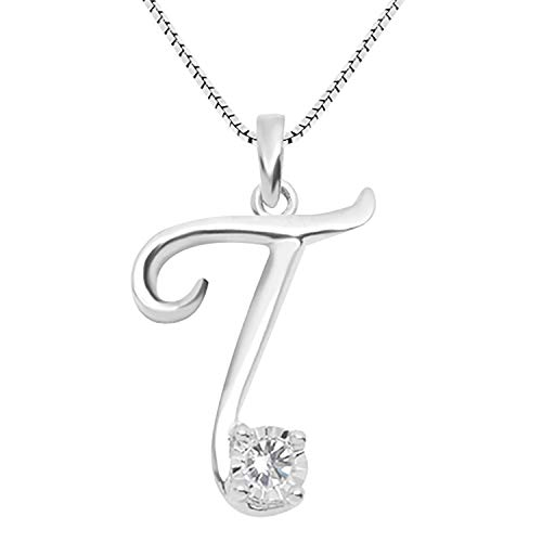 - JewelExclusive Sterling Silver .05 cttw White Diamond Initial T Pendant