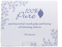 100% Pure: Anti Bacterial Wood Pulp Oil Blotting Paper, 50 ct, Perfect for Fixing Those Tiny Makeup Details, No Powder Sensation, All Natural and Organic Formula