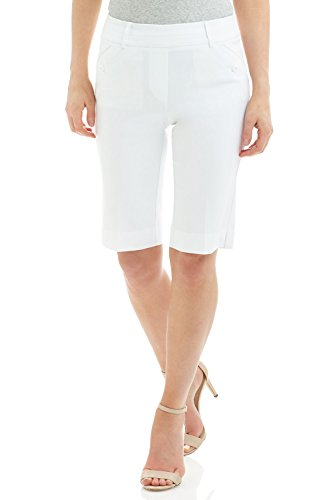 Rekucci Women's Ease Into Comfort Modern Pull On Bermuda Short with Pockets (12,White) ()